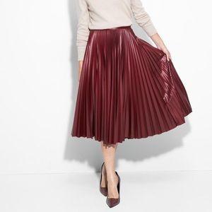 NWOT Pleather Pleated Skirt